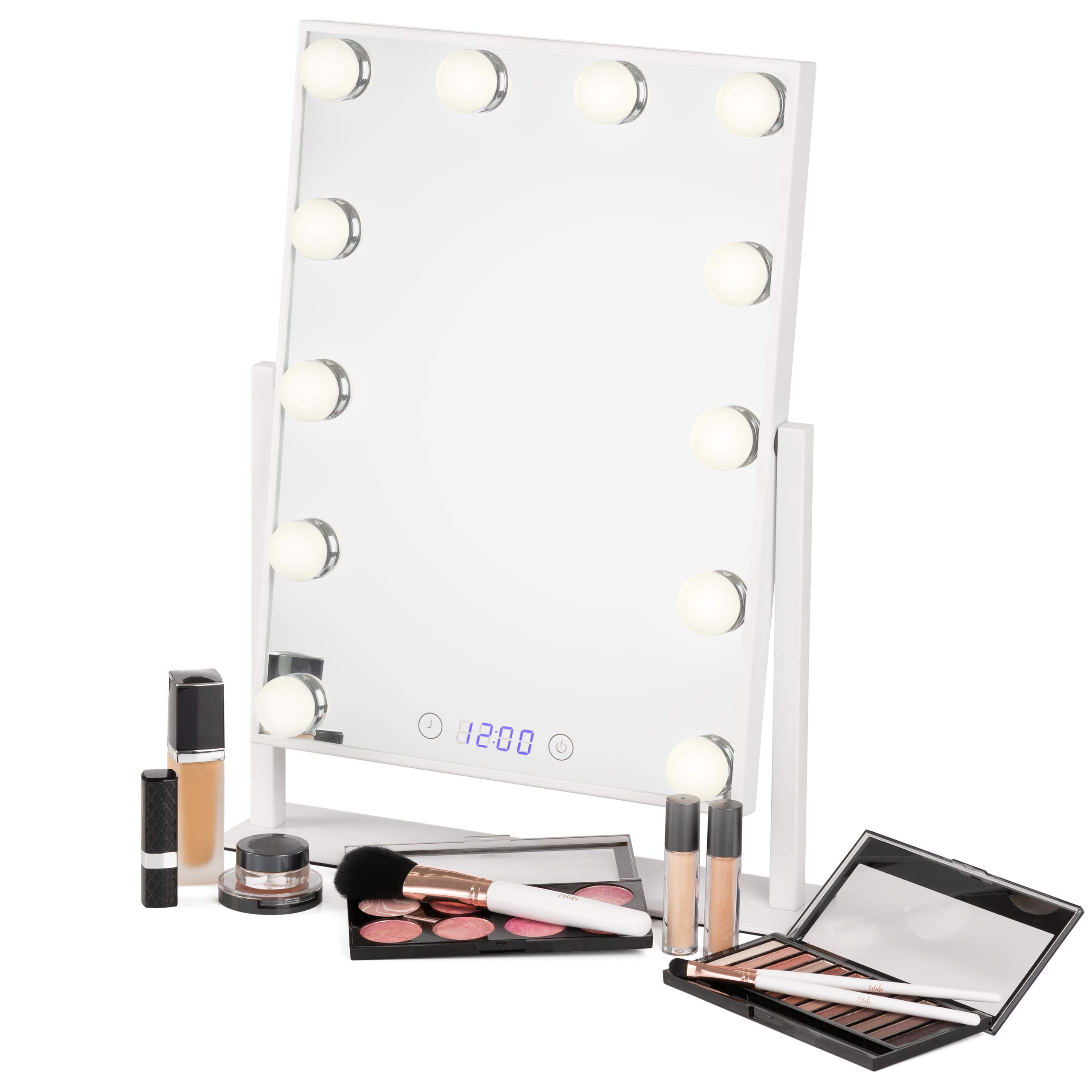 Vanity Mirror with Lights - Professional Makeup Mirror & Lighted Vanity Makeup Table Set with Smart Touch Adjustable LED Lights, White Hollywood Vanity Mirror, Digital Clock & Steel Frame by Estala
