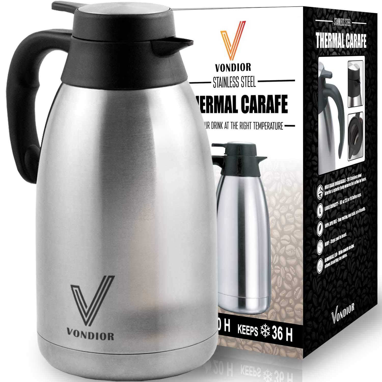Coffee Thermal Carafe (68 Oz) + Free Brush - Large Stainless Steel Thermos carafes, Keep Water hot up to 12 Hours, Double Walled Insulated Vacuum Flask, Beverage Dispenser by Vondior