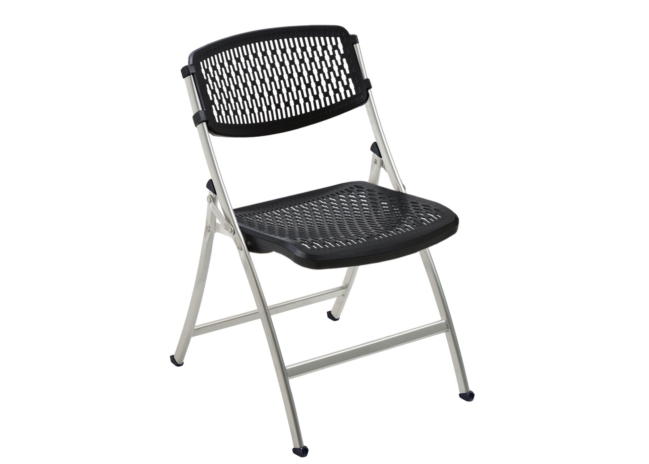 Flex e Folding Chair Black Silver 4 Pack Black Silver