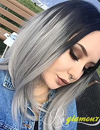 Amazoncom Riglamour Grey Ombre Bob Wig Black Roots To Gray