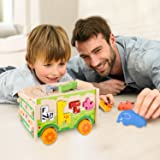 Gamenote Jumbo Wooden Shape Sorter Animals Bus with Puzzle Jigsaw and Seesaw Game - Educational Pull Push Truck Toys for Toddlers and Baby