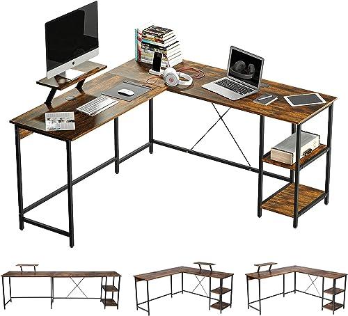 OUTFINE L Shaped Desk Corner Desk Double Computer Desk Home Office Gaming Workstation