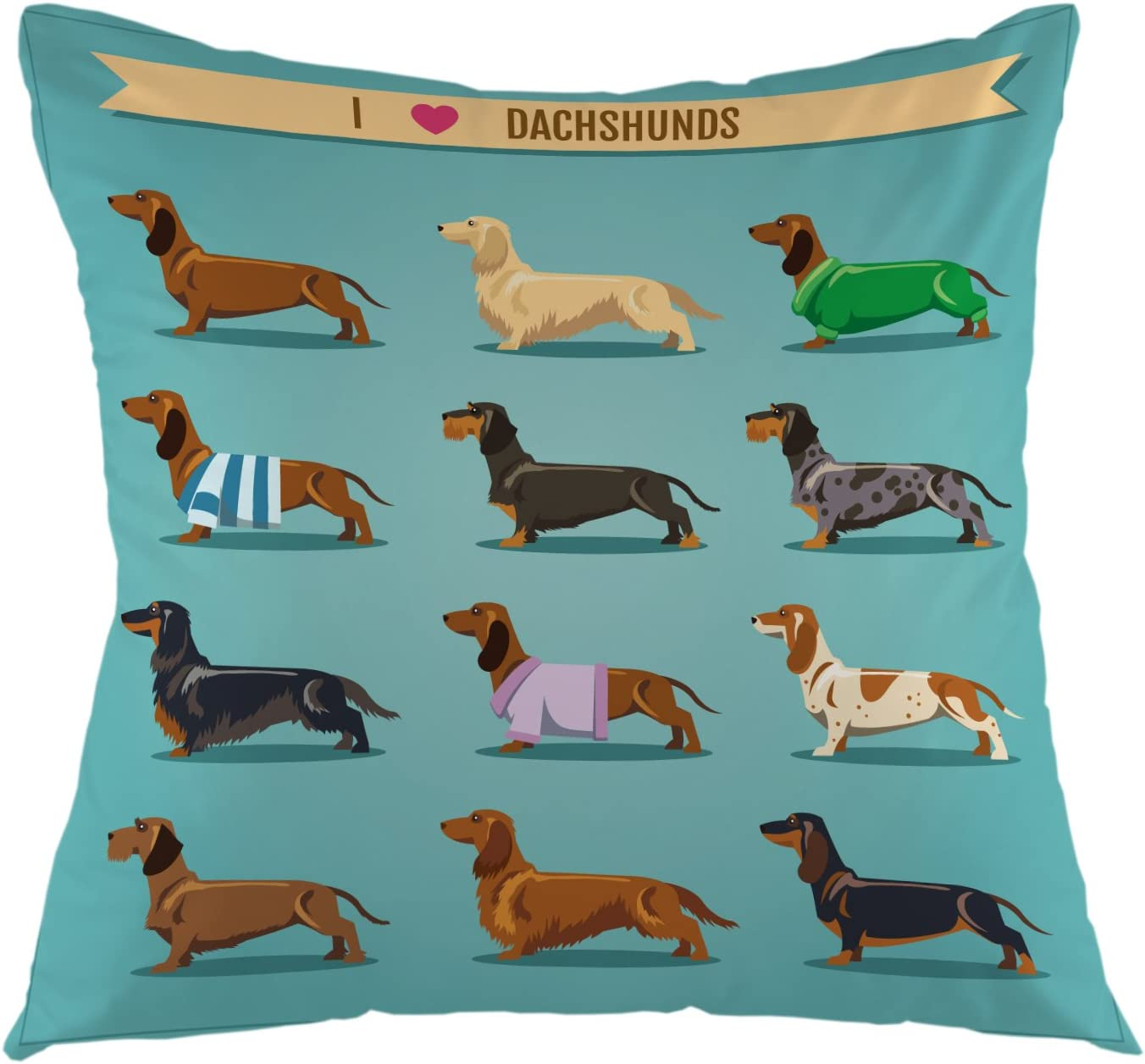 """oFloral Decorative Dachshund Pillow Cover Throw Pillow Case Square Cushion Cover for Sofa Couch Home Car Bedroom Living Room Decoration 18"""" x 18"""" Turquoise Black Brown"""
