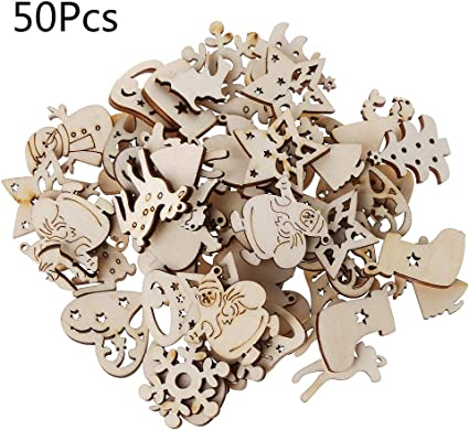 50x Mixed Unfinished Wood Key Shapes Wood Pieces for Cardmaking Scrapbooking