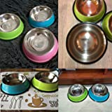 Dog Bowl Drinking Water Fountain Dry Food Bowls for Cats Pink Dog Bowls Indoor Pet Dog Dish Feeder Goods,Blue,M