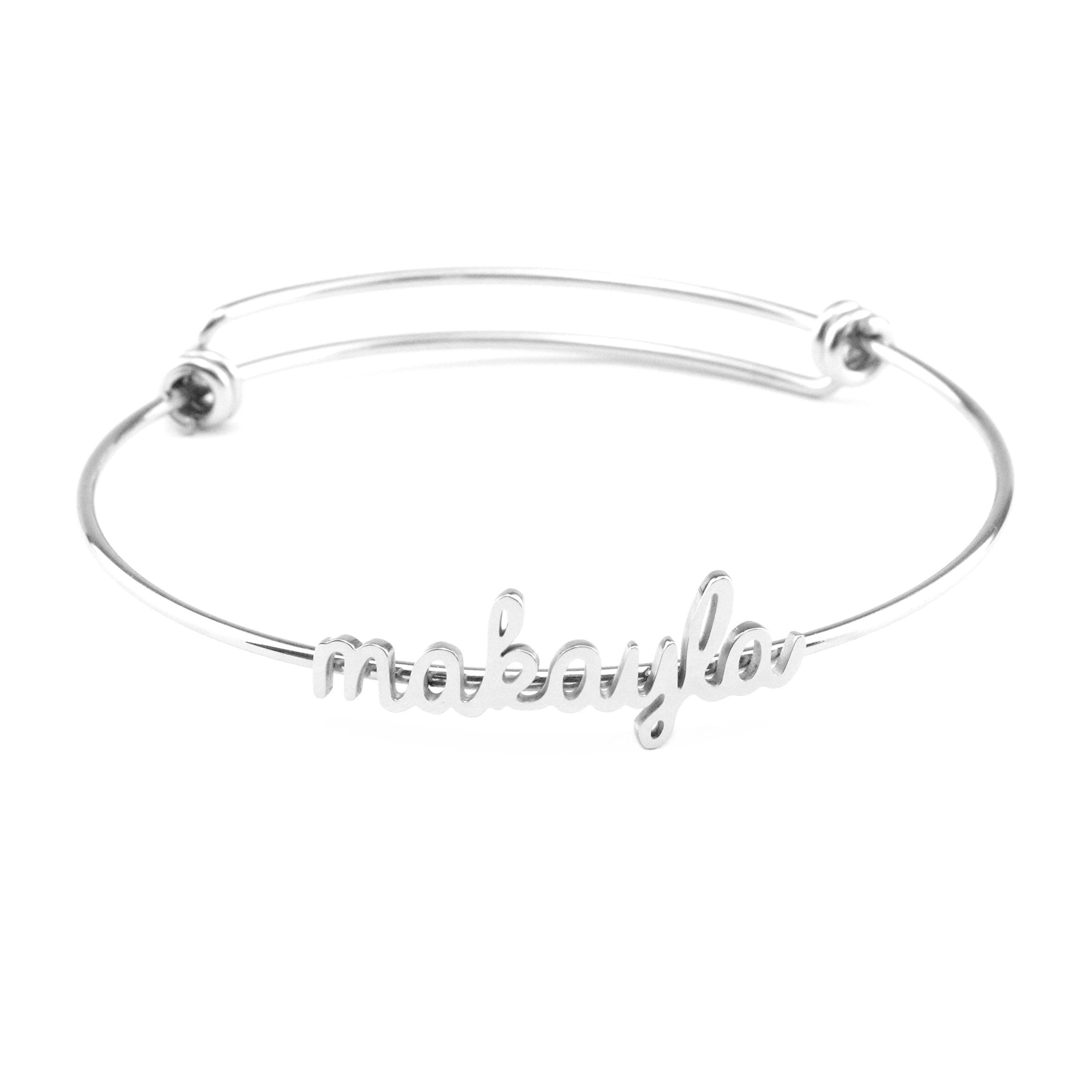 Yiyang Name Bangles for Teen Girls Personalized Name Bracelets Jewelry Gift for Friends Women Name Makayla