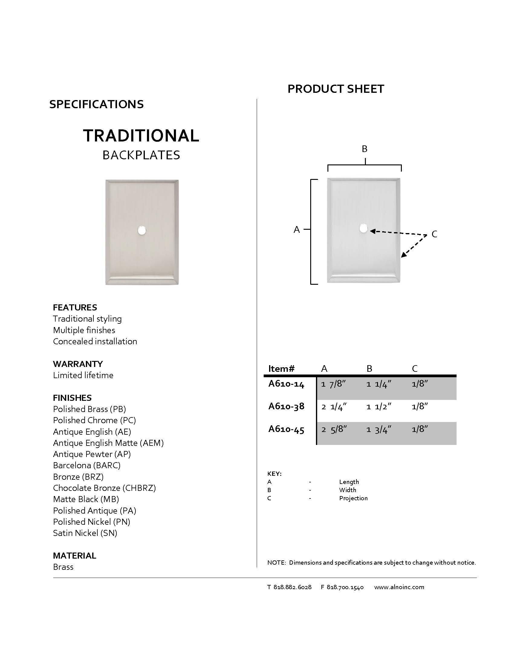 Alno A610-38-PN Escutcheon Traditional Backplates, Polished Nickel, 2-1/4''