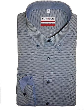 marvelis Modern Fit Camisa de manga extra larga de color azul oscuro al 69 azul XL/46: Amazon.es: Ropa y accesorios