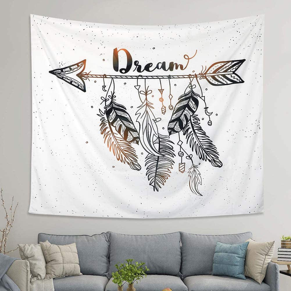 LOMOHOO Arrow Tapestry Vintage Feather Dream Tribal Aztec Style Boho Decor Art Bohemian Tapestry Wall Hanging Bedroom Dorm Living Room Blanket Decoration (Arrow, L:148x200cm/58 x79)
