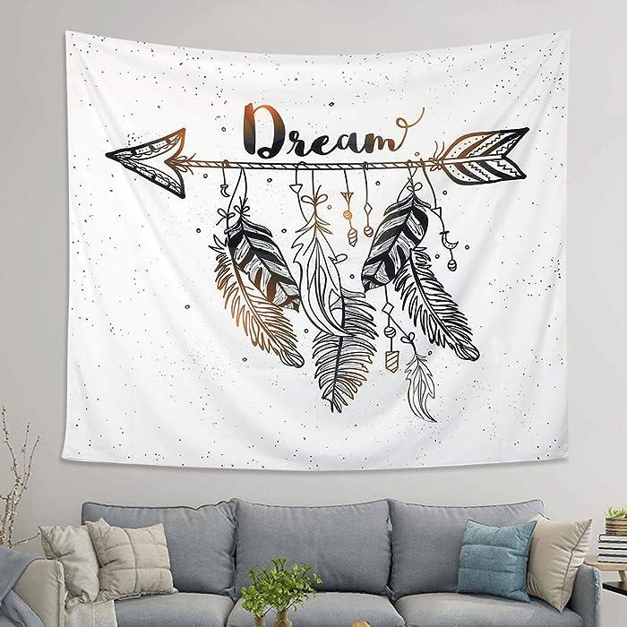 LOMOHOO Arrow Tapestry Vintage Feather Dream Tribal Aztec Style Boho Decor Art Bohemian Tapestry Wall Hanging Bedroom Dorm Living Room Blanket Decoration (Arrow, L:148x200cm/58 x79)