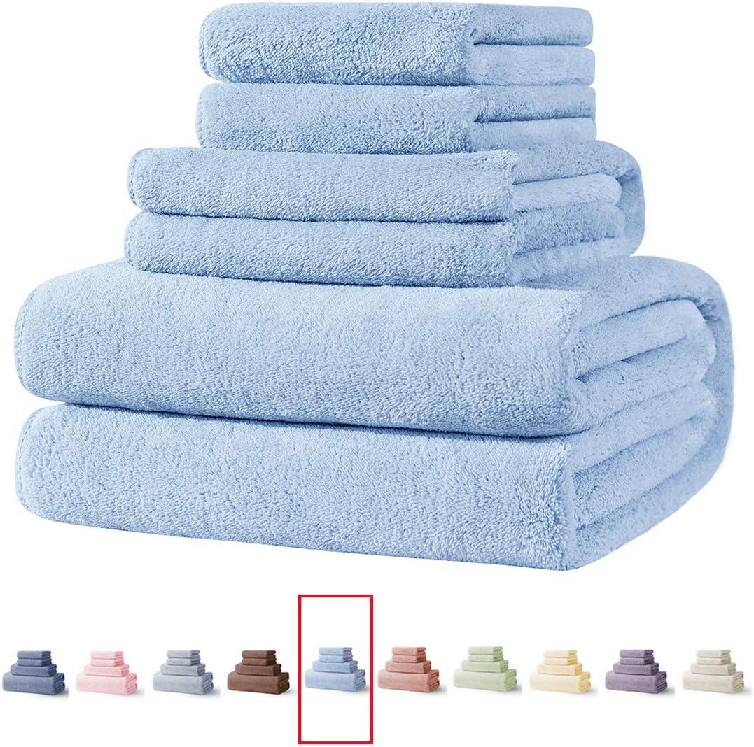 Xinrjojo 4 Piece Microfiber Quick Dry Towels Set:1 Bath Towel 1 Hand Towel and 2 Washcloths Set Super Soft Plush Highly Absorbent- Blue
