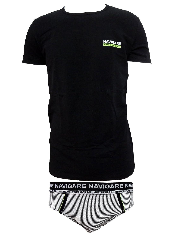 coordinato uomo slip + t-shirt girocollo cotone elasticizzato NAVIGARE art. 11586