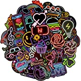 Waterproof Vinyl Laptop Stickers for Tablet Headset Skateboard Decals (50 Pcs Neon Light Style)