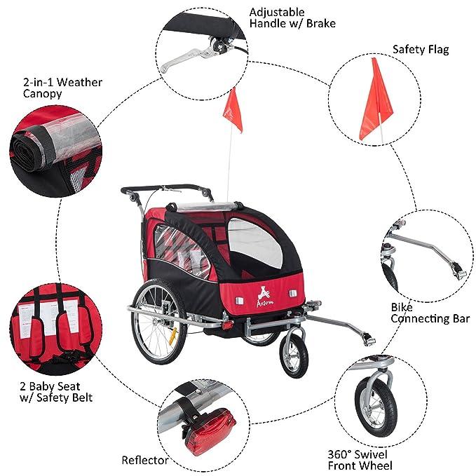 Amazon.com: Remolque doble de bicicleta infantil Aosom Elite ...