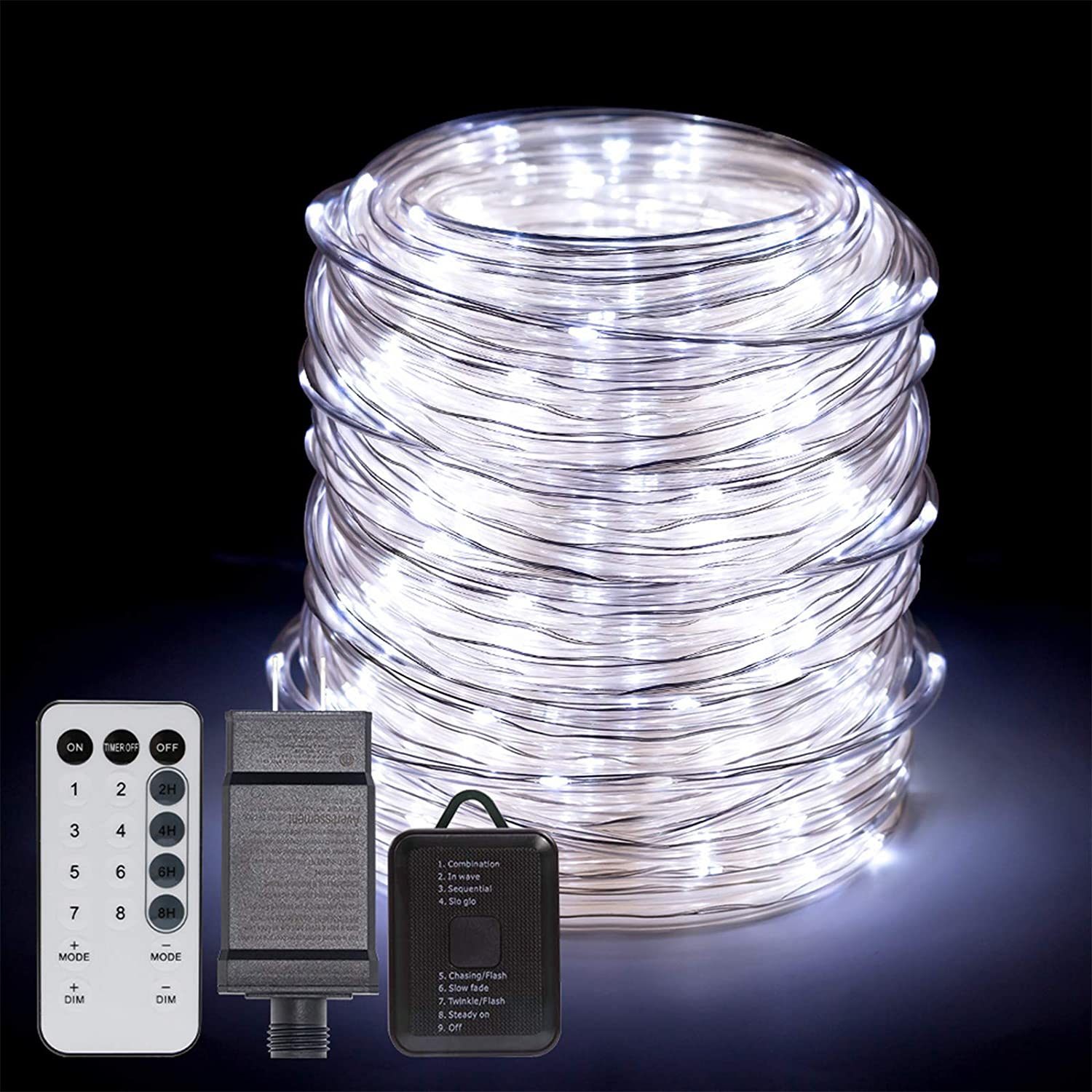 ANJAYLIA 66ft 200 LED Rope Lights Outdoor, Waterproof String Lights Plug in with Remote Control for Christmas Porch Deck Garden Party, White