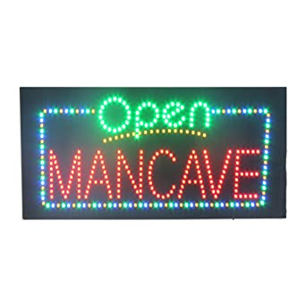 LED Man Cave Barber Shop Open Light Sign Super Bright ...