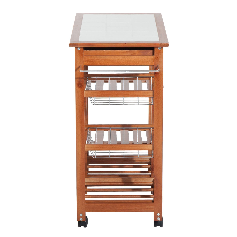 HOMCOM 30'' Wooden Rolling Kitchen Organizer Cart Tile Countertop With Basket Storage Wine Rack by HOMCOM (Image #7)