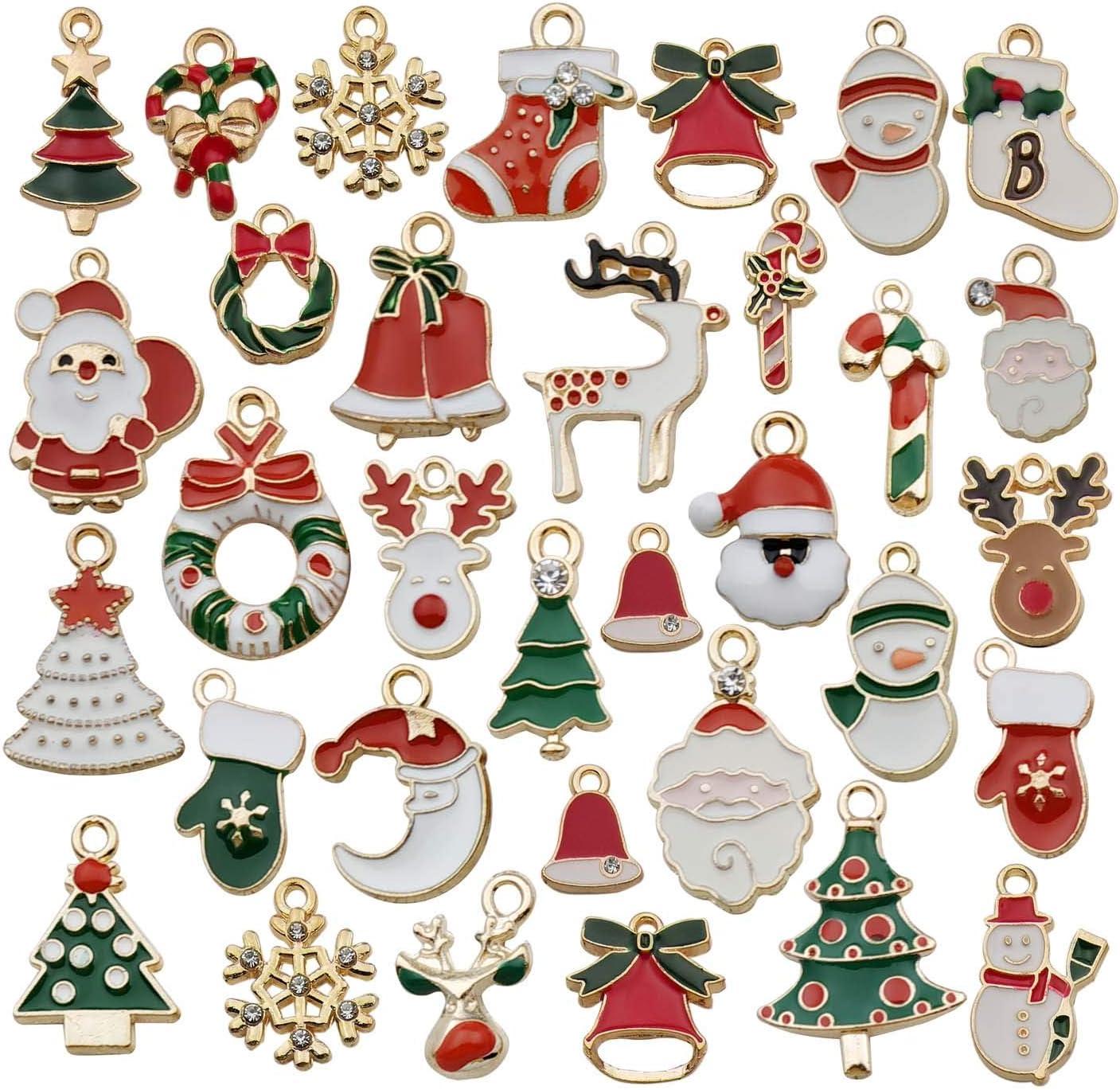 Christmas Decor Pendant Alloy Charms Mixed Enamel Ornament Party Metal 20pcs