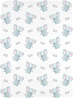 WolfeDesignPDD Personalized Elephant Baby Name Blanket, Custom Baby Boy Girl Gift