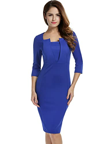 ANGVNS Women Elegant 3/4 Sleeve Square Neck Bodycon Solid OL Party Package Hip Dress