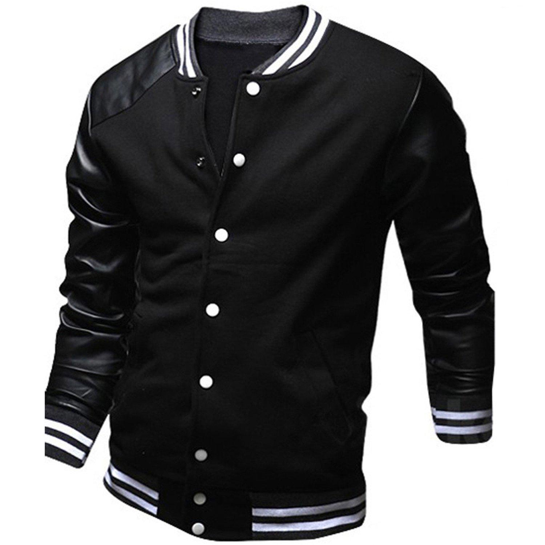 Catwomanfun College Baseball Jacket Men New Fashion Design Black PU Leather Sleeve Mens Slim Fit Varsity Jacket Brand XXL at Amazon Mens Clothing store: