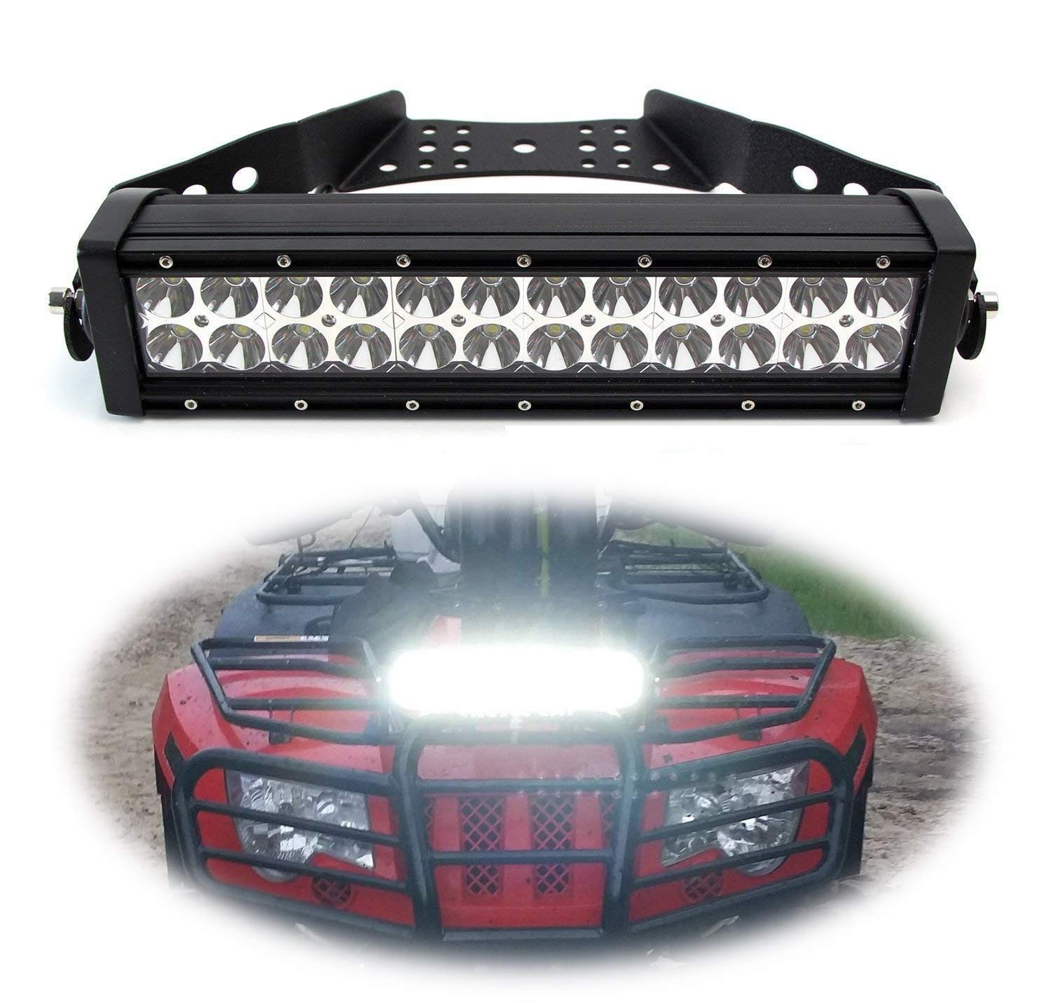 iJDMTOY 14-Inch LED Light Bar Kit Universal Fit For ATV UTV Handles, Grill & Hood, Includes 72W High Power Double Row LED Light Bar, Handlebar/Front Grille/Hood Mount Bracket & On/Off Switch Wirings by iJDMTOY