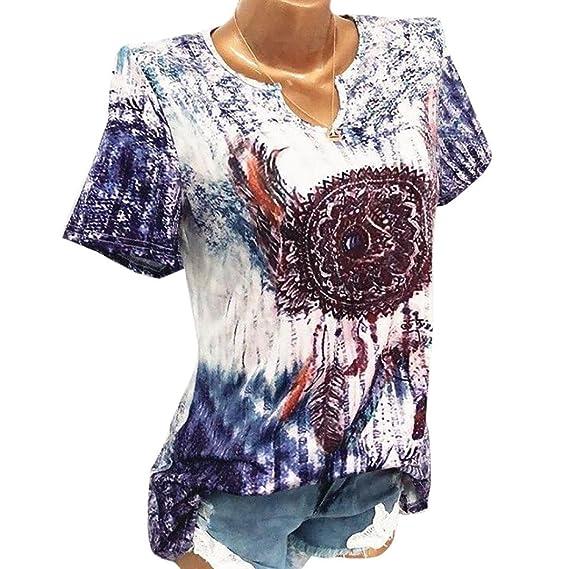 Lenfesh Camisa Estampada Mujer Blusa Talla Grande de Verano Camisetas Manga Corta Cuello en V Blusa