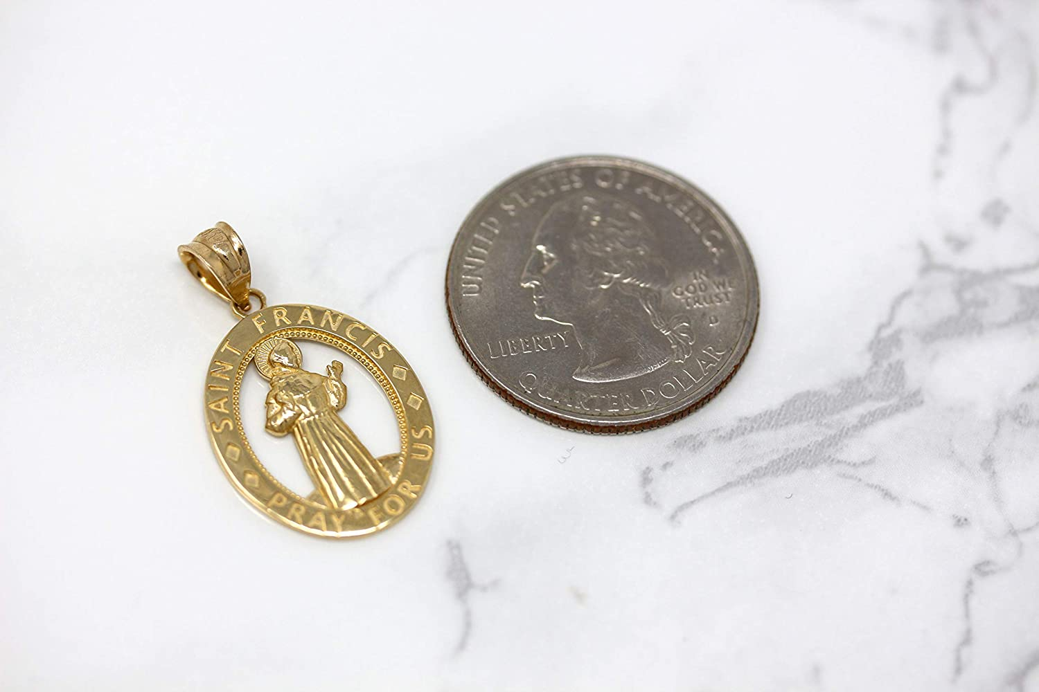 CaliRoseJewelry 10k Gold Saint Francis of Assisi Pray for Us Oval Charm Pendant