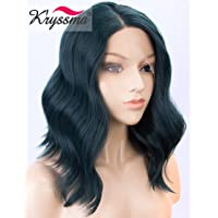 K'ryssma Deep Green Bob Lace Front Wig for Women Shrot Wavy Synthetic Wigs with Side Parting Heat Resistant Dark Green Lace Wig