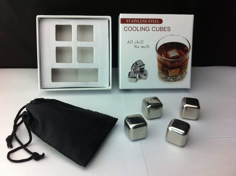 Rii Cubos enfriadores de acero inoxidable para el Whisky - Set de 4 piezas - Ideal para evitar que su bebida se diluya, manteniendo intacto y perfecto el sabor y a la temperatura correcta. Para Navida