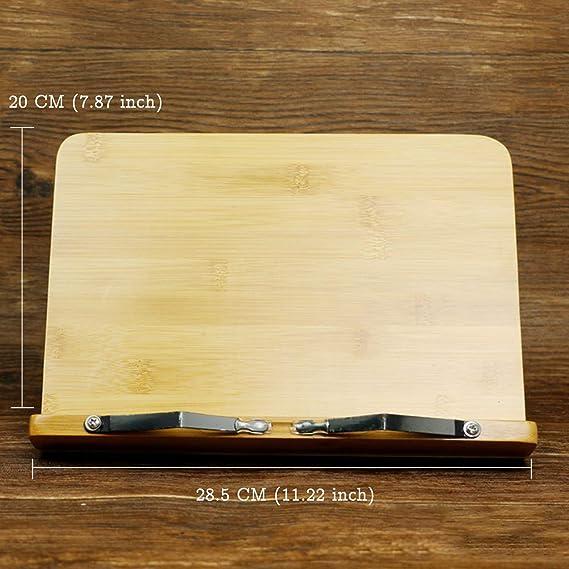 Recettes BINSENI Support de Livre de Recettes pour Lecture de Cuisine avec 2 Supports de Pages en M/étal en Bambou Respectueux de lenvironnement Ld/éal pour Livres de Cuisine B Tablettes iPad