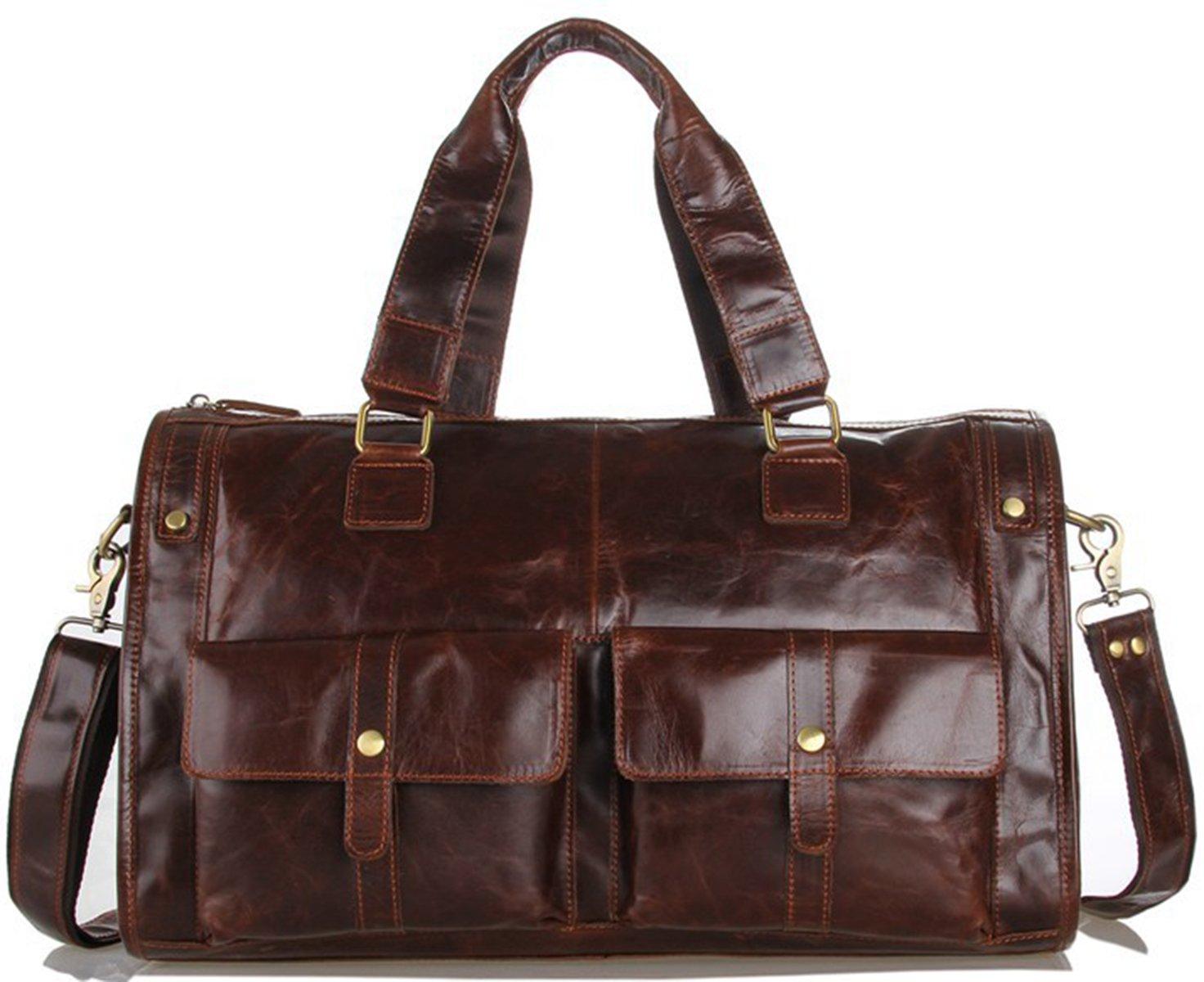 Genda 2Archer Genuine Leather Luggage Bag Travel Duffel Bag Shoulder Messenger Bag