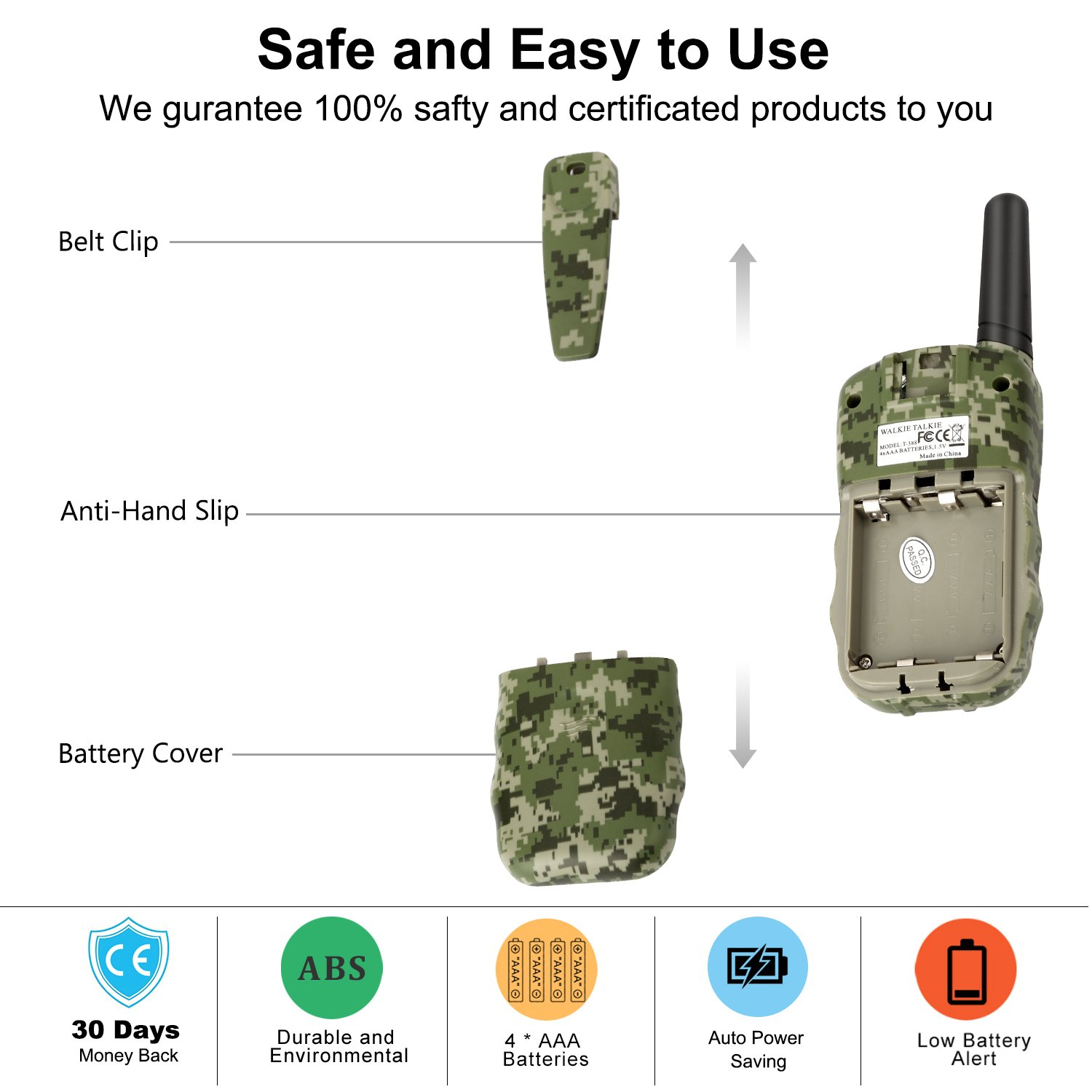 Wishouse Walkie Talkies for Kids,Popular Toys for Boys and Girls Best Handheld Woki Toki with Flashlight,License free Kids Survival Gear for Hunting and Outdoor Adventure(T388 Camouflage 2 Pack) by Wishouse (Image #7)