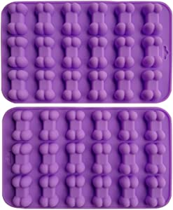 AxeSickle (2 per pack) Silicone Baking Mold Cake Chocolate Candy Pans Dog Treat Bones Silicone Mold,Mini Bone Shape Silicone Ice Cube Tray, Silicone Bone Pet Cookies Mold.