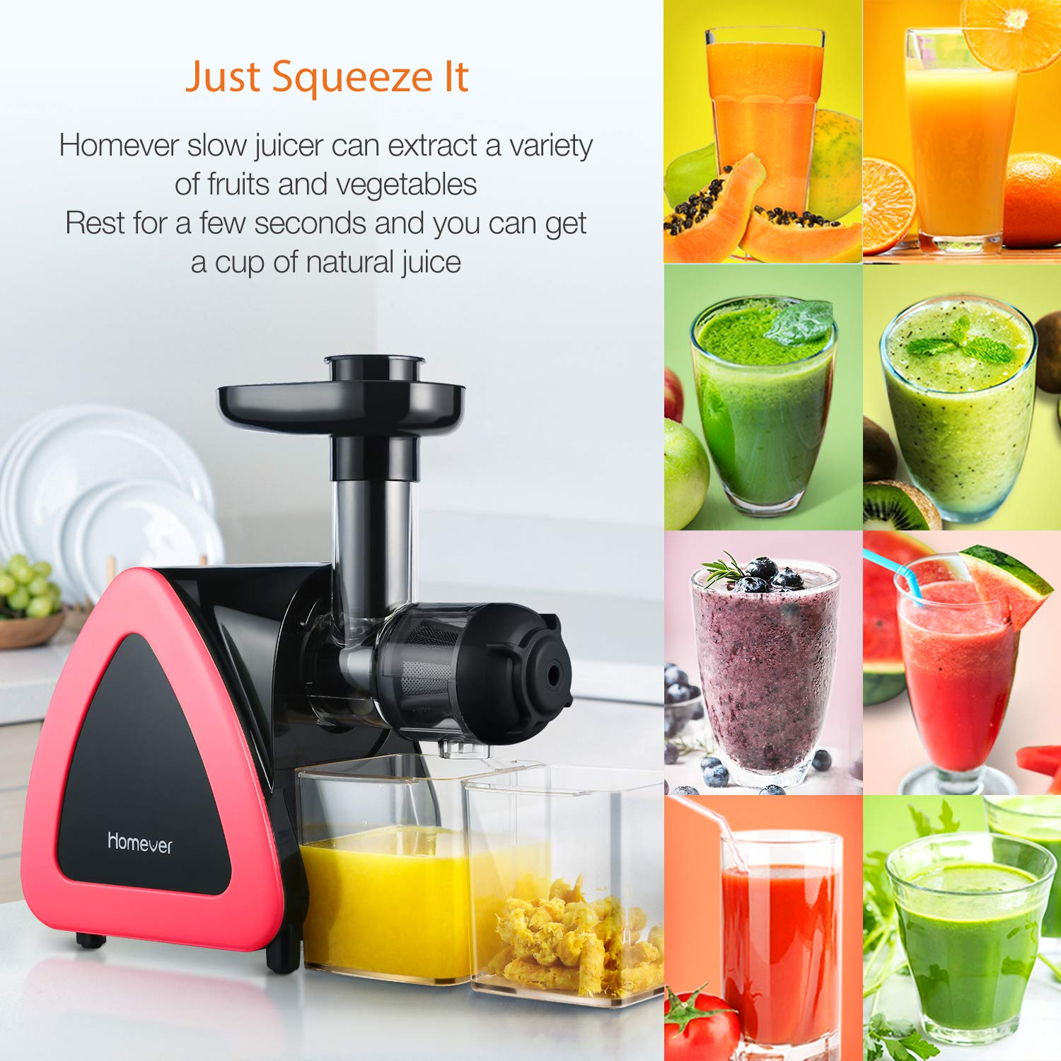 Homever Juicer Machines, Slow Masticating Juicer for Fruits and Vegetables, Quiet Motor, Reverse Function, Easy to Clean Hight Nutrient Cold Press Juicer Machine with Juice Cup & Brush, BPA-Free by Homever (Image #7)