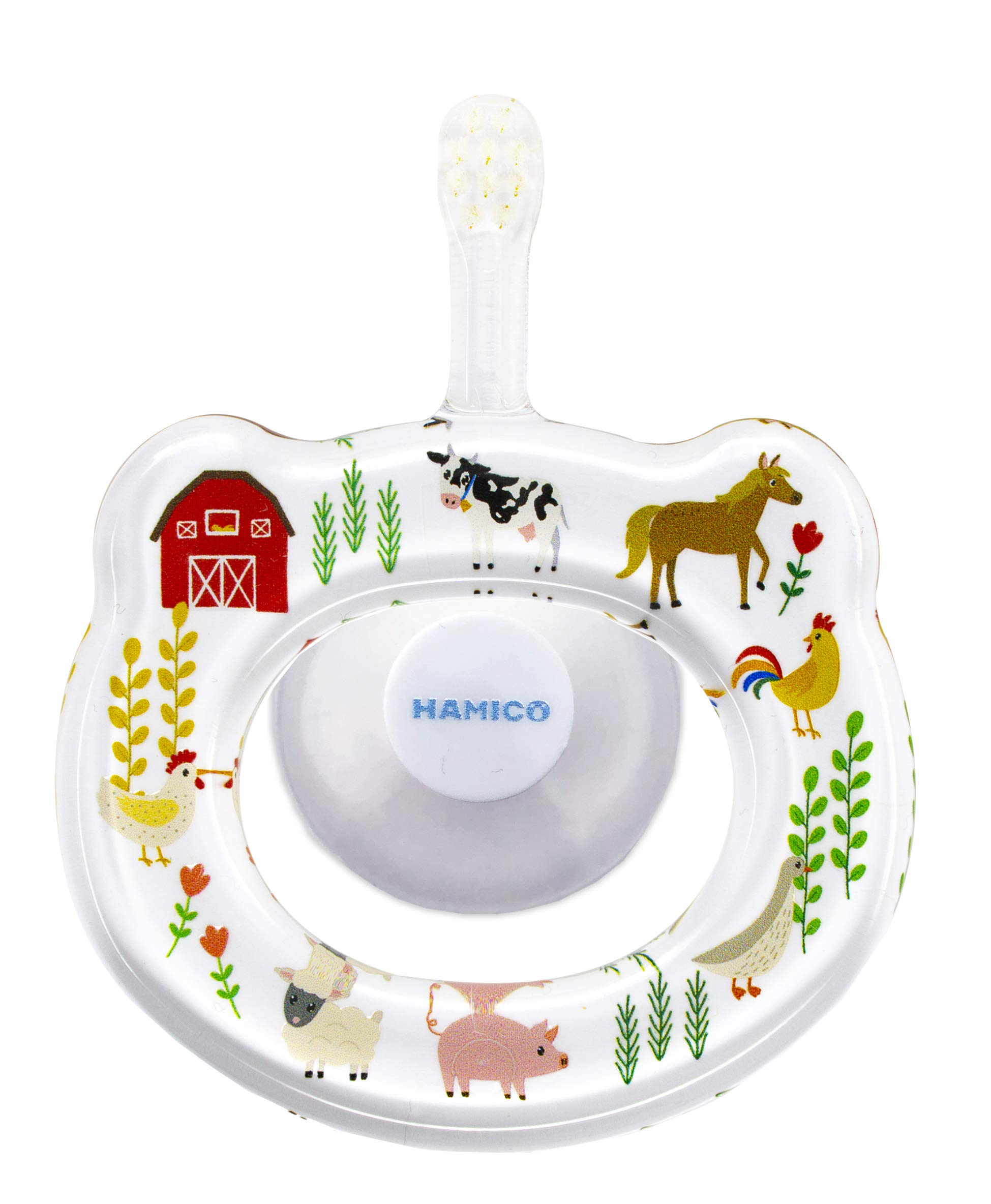 HAMICO Japanese Baby Toothbrush with Small Sized Head, Soft Bristles and Oversized, Easy to Hold Handle with Suction Cup Holder (Farm Animals) by HAMICO