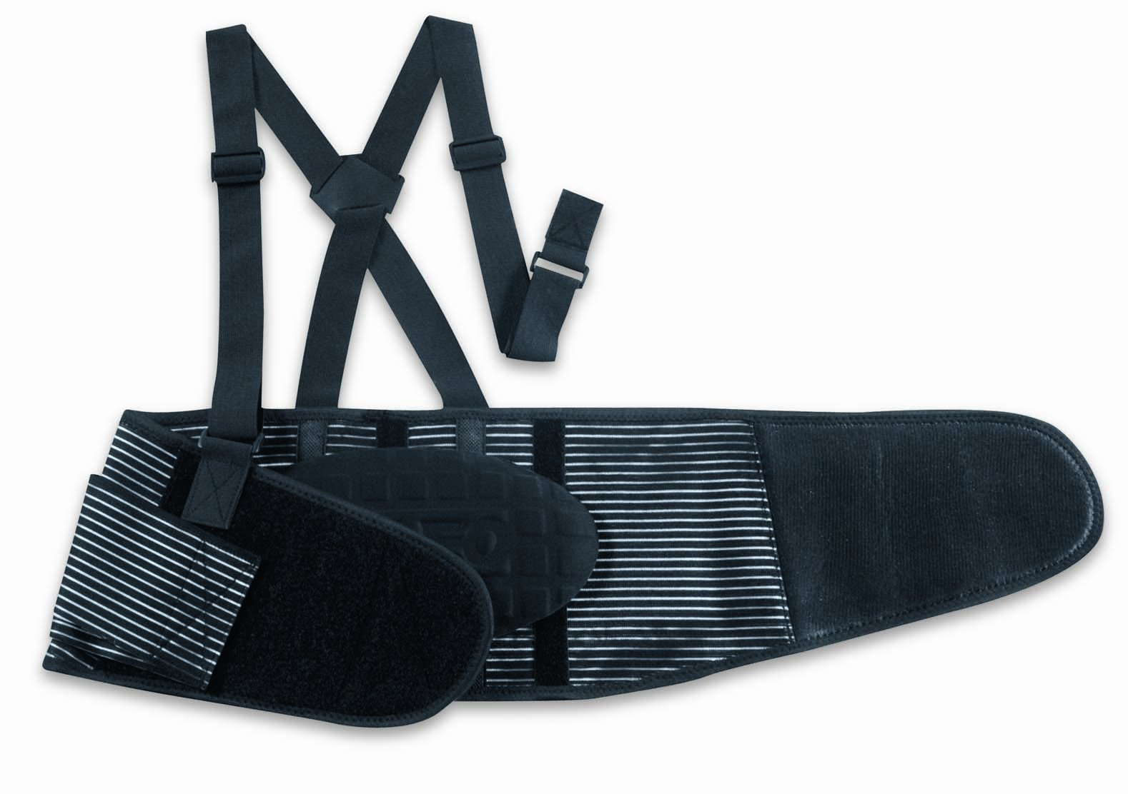 Valeo Premium 9-Inch Heavy Duty Elastic Belt With 2 Stage Hook And Loop Closure System And Quick Release 1.5-Inch Removable Suspenders And Removable Lumbar Pad, Machine Washable