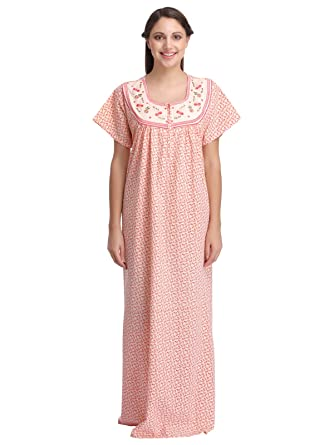 7927b59ccb Clovia Women Cotton Printed Nighty With Embroidered Yoke  Amazon.co.uk   Clothing