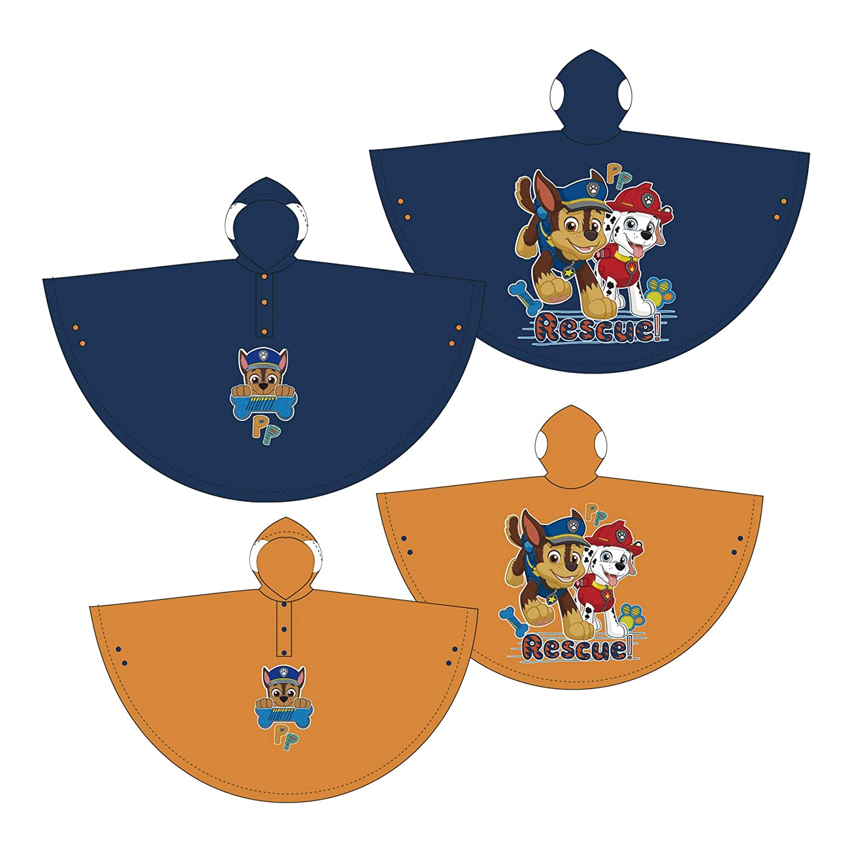 Paw Patrol Boy Regenponcho AUSWAHL Poncho Regenjacke Kinderponcho Kinderregenjacke Regenmantel Kinderjacke PW11461 (2 Jahre, Blau) Familie24