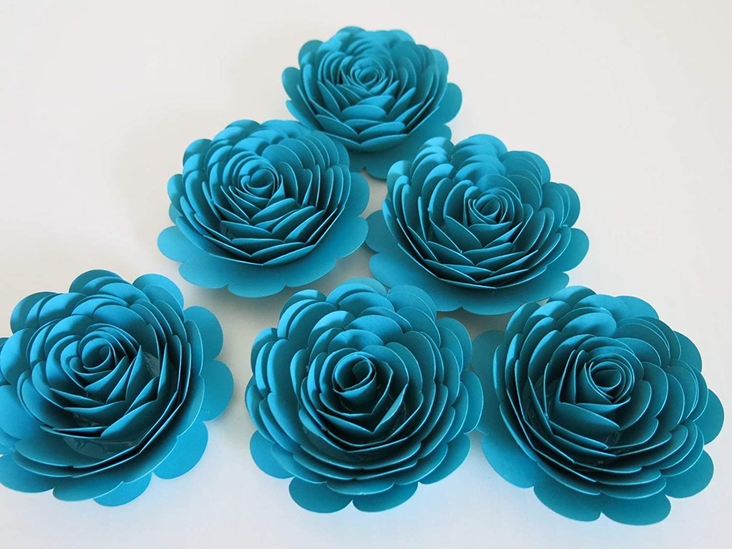 Dark Teal Blue Roses Set of 6 Paper Flowers First Anniversary Gift Idea Bridal Shower Decor Big 3 Blossoms Wedding Reception Table Centerpiece Ideas Always In Blossom