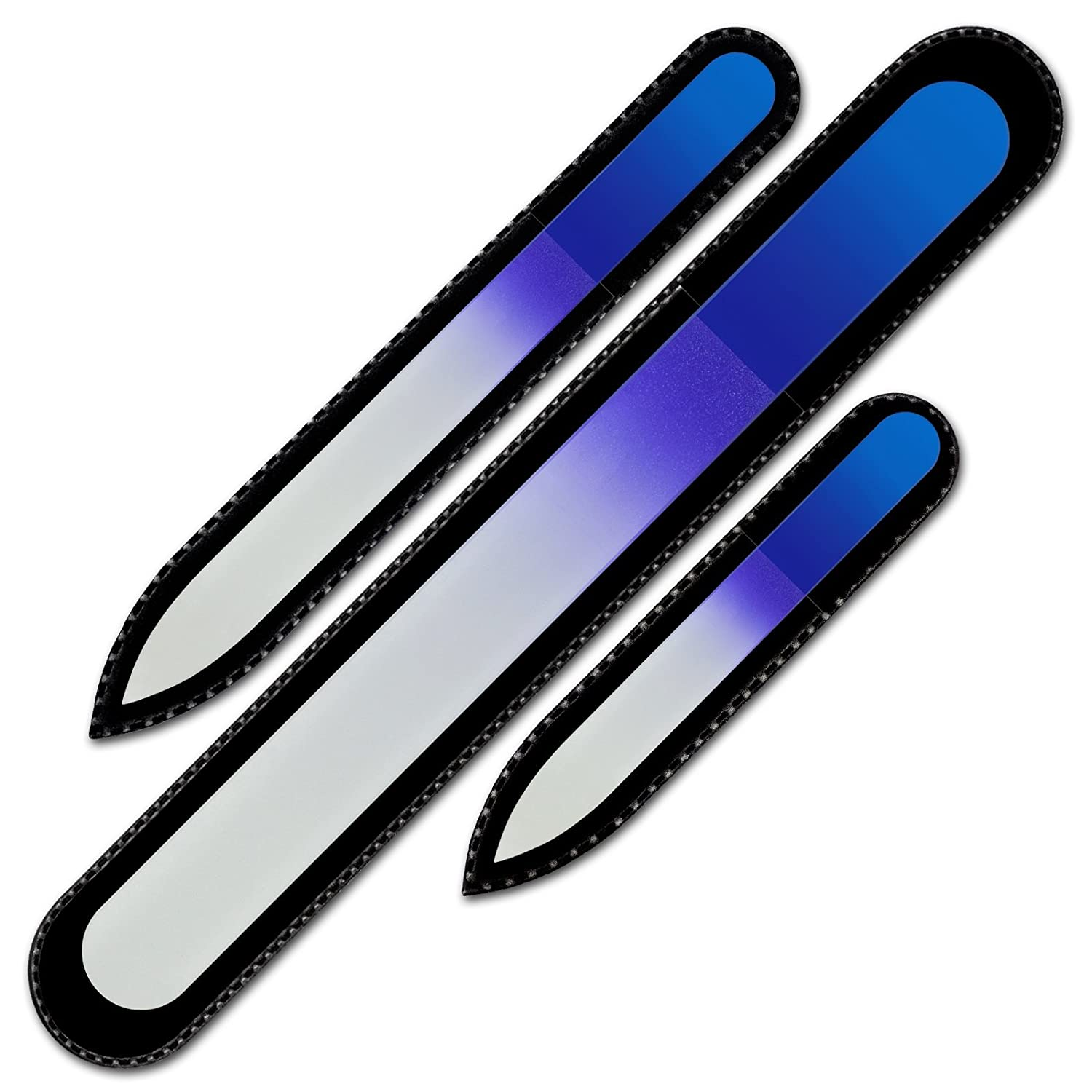 Mont Bleu Premium Set of 3 Crystal Nail Files in Velvet Pouch Rainbow Colors Genuine Czech Tempered