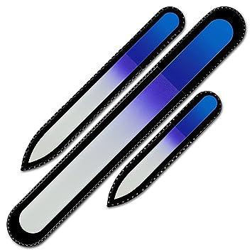 Mont Bleu Premium Set Of 3 Crystal Nail Files In Velvet Pouch, Rainbow Colors, Genuine Czech... by Mont Bleu