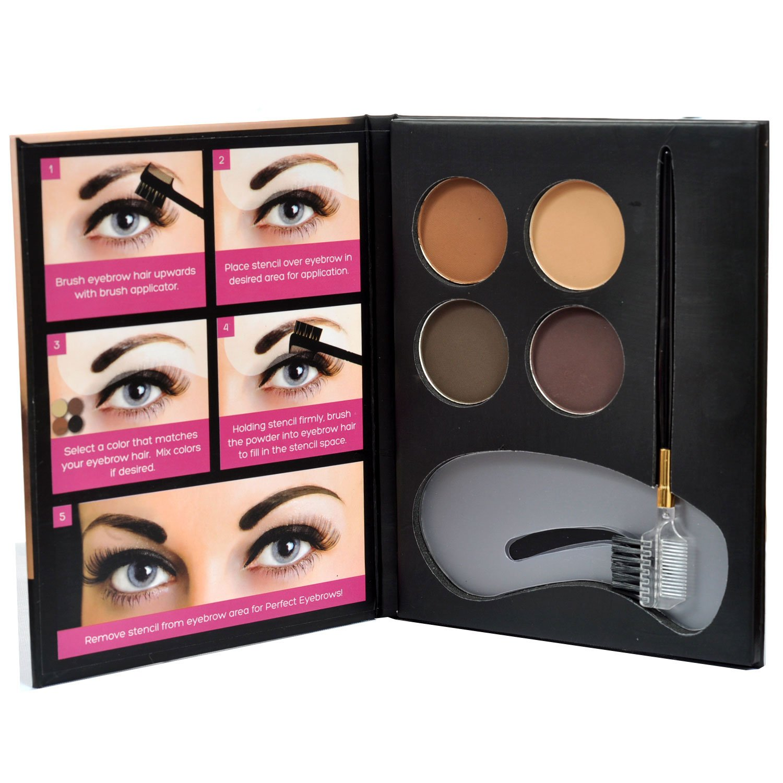Beauty Treats Eyebrow Kit 2 Dozen - 4 Eyebrow Powders, 3 Stencils, 1 Brush Applicator
