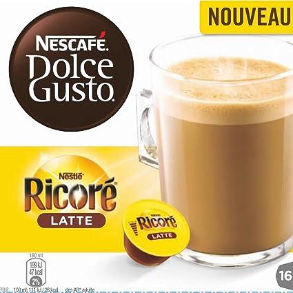 Nescafé Dolce Gusto ricoré Latte, Café con Chicorée sabor, Cápsulas de Café, 16