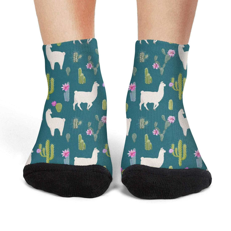Mens athletic low cut Ankle sock Llama and cactus Comfort Short Socks