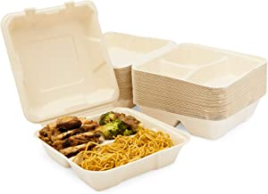 Bagasse Clamshell Food Containers, Disposable Take Out Boxes (8 x 8 x 3 In, 50 Pack)