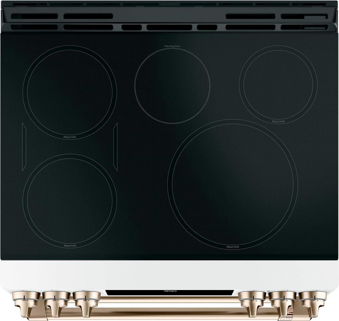 Cafe 30 Matte White Slide-In Double Oven Induction Range