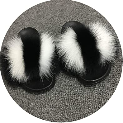 b290eb8b018a Women Fox Fur Slippers Slides Female Furry Indoor Flip Flops Casual Beach  Plush Shoes