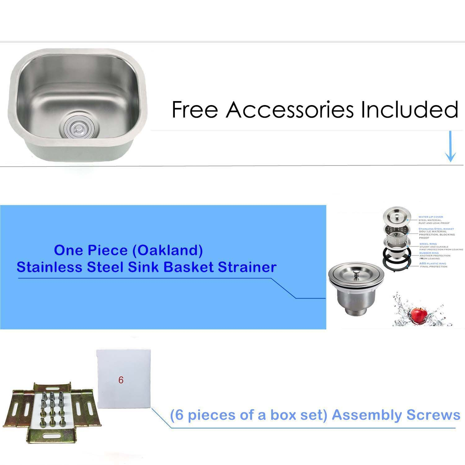 18-Gauge Undermount Single Bowl Stainless Steel Small Bar/Prep Sink 13''X13'' by Oakland (Image #3)
