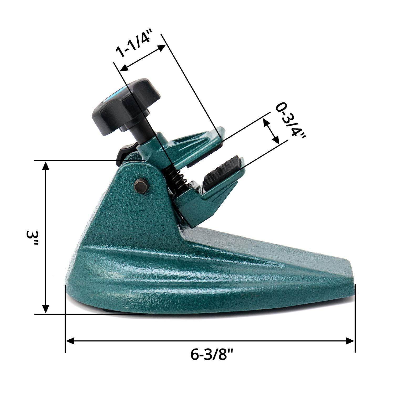 QWORK Soporte de micr/ómetro de /ángulo ajustable con doble almohadilla antideslizante para micr/ómetros de hasta 100mm
